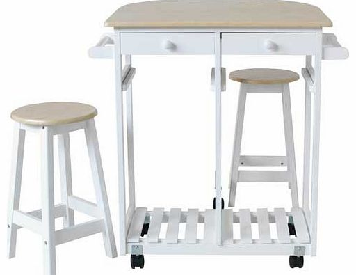 This Mayson Kitchen Trolley Set is perfect for dining in your kitchen when you dont have much space. With 2 stools that fit under the table and 2 handy drawers for cutlery and other utensils. this kitchen trolley is great for one or two person dining