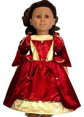 Whats more fun for your little one than dressing up? Dressing their favourite doll in a matching outfit. This red satin and velour dress has a golden glitter bodice print and is finished with beautiful gold foil organza panelled sleeve detail. just l