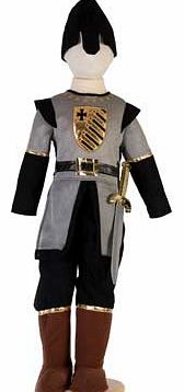 A Medieval costume with a chainmail effect tunic that has a gold motif and mock leather belt detail. This outfit also includes black trousers. mock brown boots. a black helmet and a sword to complete the outfit. Suitable for height 98 to 110cm. For a