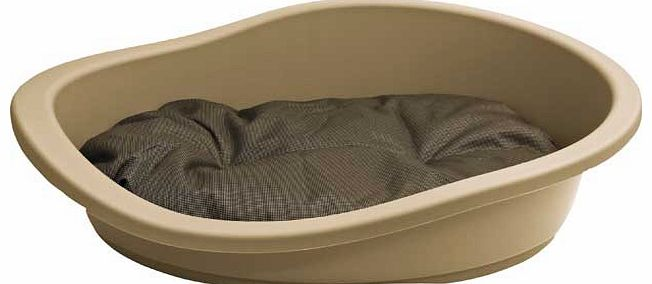 This plastic pet bed was designed with your beloved pets comfort in mind. Its hard and durable material will make them feel safe and secure and the plush internal cushion adds warmth and comfort. Plastic. Suitable for medium sized dogs. Machine washa