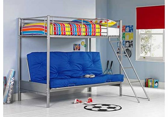 This bunk bed is perfect for creating a relaxed kids bedroom. With a futon underneath the main bed