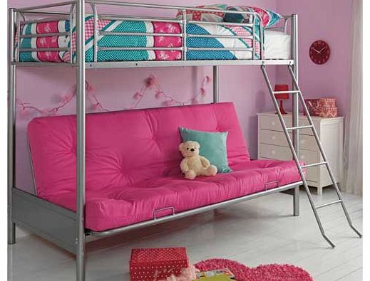 Perfect for sleepovers. or just for relaxing. this funky futon bunk has a silver tubular steel frame with single top bunk and double futon base in fuchsia. For safety reasons the maximum mattress height to be used on the top bunk is 19cm. Included in
