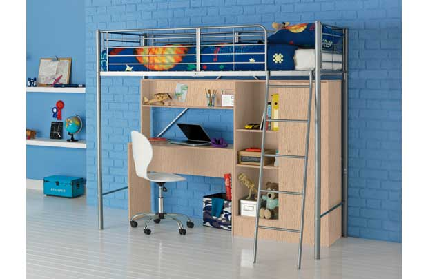 Maximise space with this silver-coloured tubular steel bunk bed with storage and desk space. Features beech finish under-bed wardrobe unit with hanging space and shelving area plus a desk with pull-out keyboard shelf