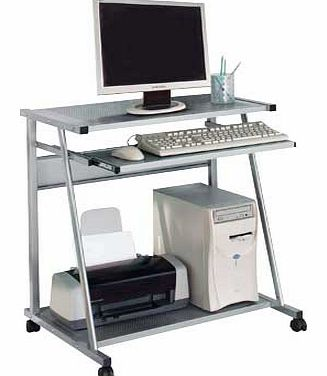 This modern metal computer trolley is ideal for your office essentials and perfect if youre looking to save space. A smart and compact workstation with a pull-out keyboard shelf on metal runners and a fixed shelf for your folders and stationary. Meta