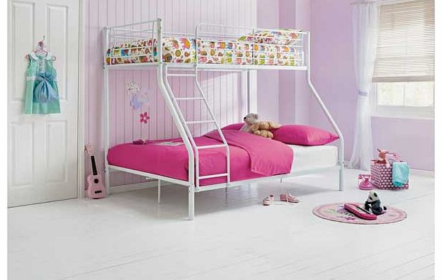 This Metal Triple Bunk Bed Frame is perfect when you have two children of different ages sharing a bedroom. This stylish white metal set of bunk beds comes with 2 open coil. medium feel mattresses with a depth of 16cm each. Bunk: Ladder can be positi