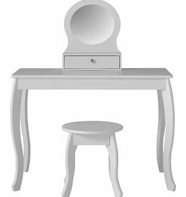 Create a relaxed bedroom setting for your little girl with the charming and sweet Mia collection. The delicate white finish and graceful curved legs make this dressing table and stool a delightful style. Sure to make their bedroom that extra special.