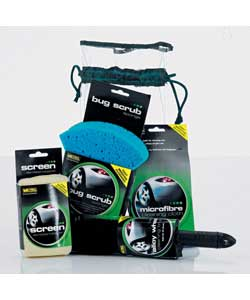 Complete kit of valeting essentials supplied in a re-usable drawstring bag.Includes a 40cm x 40cm