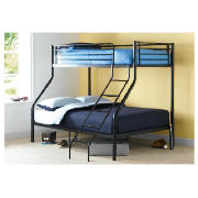 Unbranded Mika Triple Bunk Bed, Black with Silentnight