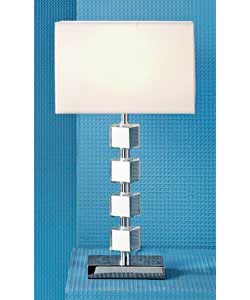 Table lamp with mirror blocks.Chrome base with mirror blocks and white fabric shade.Total height