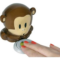 A cute little monkey  designed to blow dry nail varnish. He 'huffs' a continuous stream of air o
