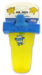 A yellow beaker decorated with Mr Bump on one side with a blue non-spill lid