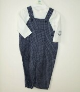 Ex-mothercare navy check dungarees in lovely soft
