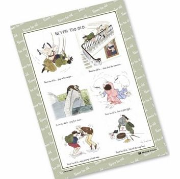 You really are never too old! The Never Too Old Tottering Tea Towel - A delightful linen tea towel designed by Annie Tempest, one of Britains best loved cartoonists.Never Too Old - Tottering Linen Tea Towel is Manufactured in England. These Never Too