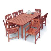 The perfect outdoor dining set for a large party. Includes 8 chairs with armrests and 1 large