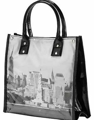 With 3 litres capacity. carry handles and a zip top. this insulated lunch tote is both stylish and practical. An insulated lunch tote. 3 litre internal capacity. Carry handles. Zip top. Button fastener. With a New York City scene on front and back pa