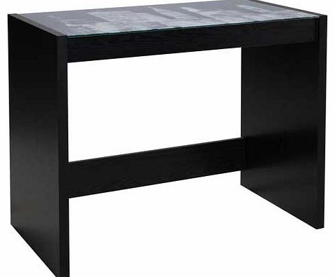 Enjoy the skyline of New York whilst you work with this New York Office Desk. This black desk with a glass print top is packed flat for easy home assembly. Part of the New York collection Wood effect desk. Maximum screen weight desk will hold 20kg. S