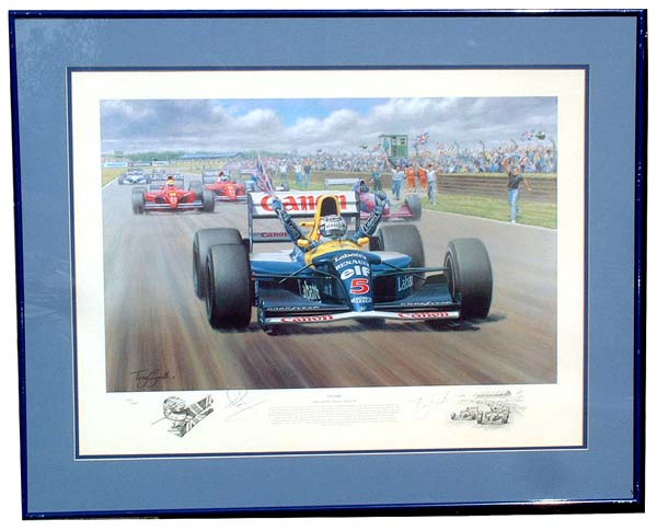 This stunning limited edition print by Tony Smith, titled Victory, depicts Nigel Mansell in his car,