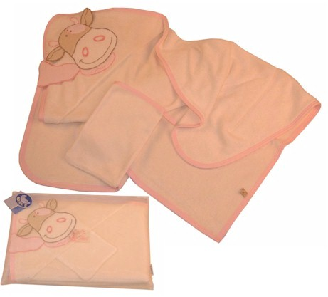 A luxuriously soft hooded towel  beautifully appliqued with loveable character Lola the Cow from