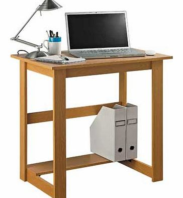 This Argos Value Range desk is good for a small space and would suit a bedroom or a home study. Wood effect desk. 1 fixed shelf. Maximum screen weight desk will hold 20kg. Size H72. W70.5. D50cm. Weight 9.4kg. Self-assembly. EAN: 6172516.