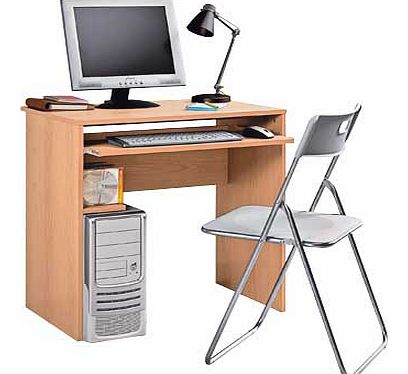 Computer desk and chair set with storage for up to 30 CDs or 24 DVDs. Wood effect desk. 1 fixed shelf. Keyboard shelf. Maximum screen weight desk will hold 20kg. Desk size H74. W74. D52.5cm. Weight 16.6kg. Tubular metal frame. Maximum user weight 110