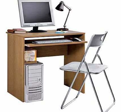 Desk with pull out keyboard shelf and fixed shelf storing up to 30 CDs or 24 DVDs. Wood effect desk. 1 fixed shelf. Keyboard shelf. Maximum screen weight desk will hold 20kg. Desk size H74. W74. D52.5cm. Weight 16.6kg. Tubular metal frame. Maximum us