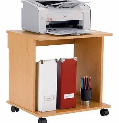 This Argos Value Range office trolley. in a beech-effect finish. has a fixed shelf and is mounted on castors for easy manoevrability. Beech desk. 1 fixed shelf. Easy cable access. Mounted on castors. Size H53.3. W48. D40cm. Weight 8.2kg. Self-assembl