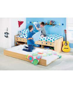 Beech effect, with decorative cut-outs on side rails and pull-out trundle bed.Includes 2 firm