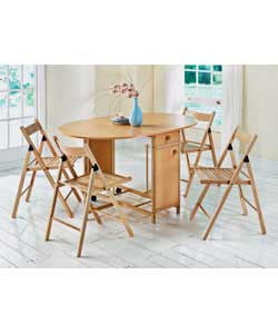 Size of table (L)42, (W)97, (H)75cm. Length of table when opened 135cm. Size of chairs (W)43, (D)51,