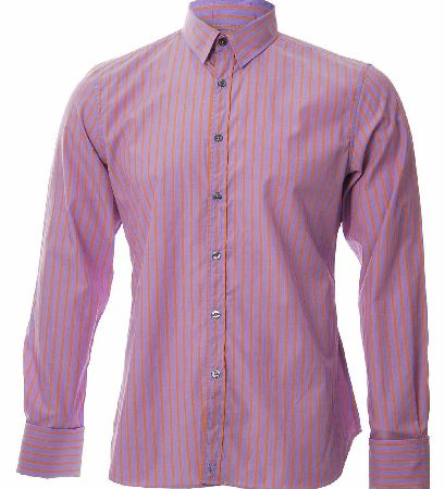 P.S Paul Smith Double cuff striped shirt this viberant purple and orange striped shirt is a slim fit featuring a contrasting pink and blue striped double cuff the shirt has a double full length darts at the back the shirt is finished off with silver