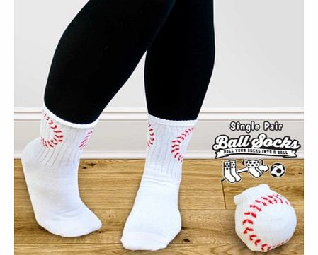 Pair of Baseball Style Socks - Ball SocksLet your feet match your favourite sport with a pair of Ball Socks.Ball Socks are a pair of funky socks which look like a baseball when they are rolled up. At the end of a day when you take your socks off, rol