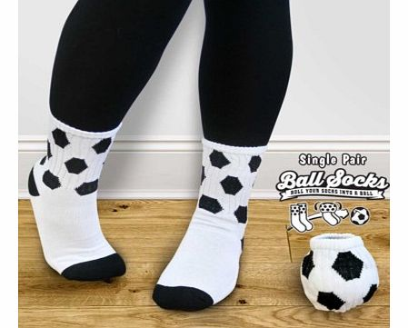 Pair of Football Style Socks - Ball SocksLet your feet match your favourite sport with a pair of Ball Socks.Ball Socks are a pair of funky socks which look like a football when they are rolled up. At the end of a day when you take your socks off, rol