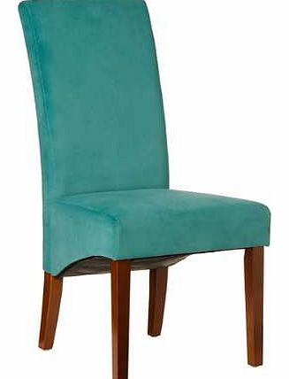These beautiful chairs are upholstered in velvet and are available in a choice of colours. The Purple and Teal chairs have walnut finish legs and the Grey and Black have a black finish.Chairs Features: Dimensions: 61W x 48D x 107H cm
