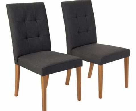 This pair of Dining Chairs with charcoal fabric effect and oak legs can supplement a number of different pieces of furniture to create a modern look. The solid wood frame ensures for a secure and sturdy pair of chairs as well. Supplied as a pair. Oak