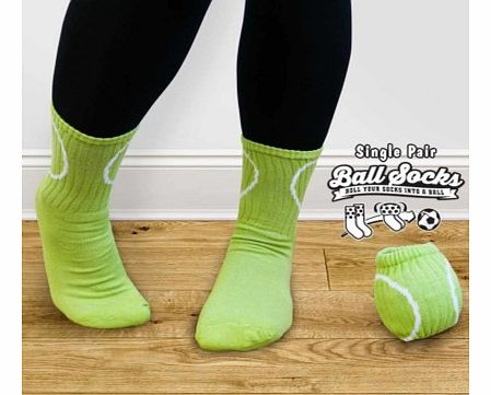 Pair of Tennis Style Socks - Ball SocksLet your feet match your favourite sport with a pair of Ball Socks.Ball Socks are a pair of funky socks which look like a tennis ball when they are rolled up. At the end of a day when you take your socks off, ro