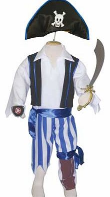 This set includes blue striped trousers with a peg leg. waistcoat. shirt. pirate skull and cross-bones hat and then to complete the pirate look an eye patch. blue sash and a cutlass. This costume is machine washable. Suitable for height 98 to 110cm.