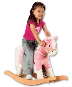Cute soft plush rocking horse with realistic sounds.Press one ear and hear him neigh. With wooden
