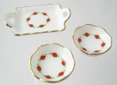 1:12 Scale Pink Floral Porcelain Salver and Two Serving Dishes