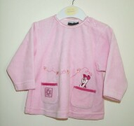 Lovely pink Ladybird top in jersey velour with Piglet embroidered popping o
