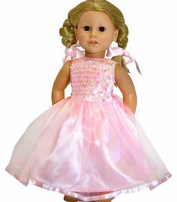 Whats more fun for your little one than dressing up? Dressing their favourite doll in a matching outfit. This gorgeous pink sequin bodice has satin straps and a full layered net skirt trimmed with a pink satin ribbon. just like the childs costume. an