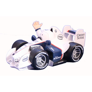 Jim Bamber`s BMW 2007 F1 car sculpture is a great bit of fun and an essential desk top accessory for