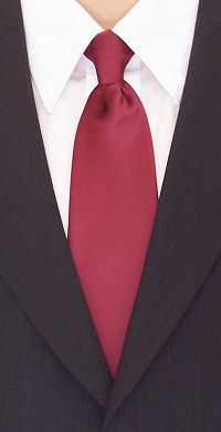 A plain wine red clip-on tie with a smooth, satin finish.