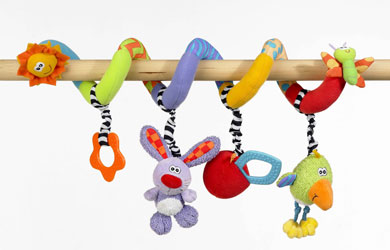 Delight your little one with this teether, rattle and squeeker in one!