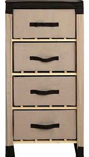 This Polycotton and Pine 4 Drawer Storage Unit is practical and affordable. These wood frame. versatile drawers are easy to assemble and will look at home in your bedroom. bathroom or any other room. Complete with a chocolate brown cover. this contem