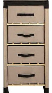 This Polycotton and Pine Wood 4 Drawer Storage Unit is practical and affordable. With a wood frame covered by polycotton. these versatile drawers will look at home in your bedroom. bathroom or any other room. Polycotton covering with pine frame. Size