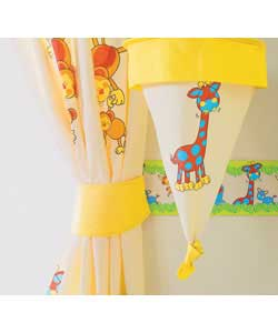 Co-ordinating bright tab-top curtains and matching tie-backs. Each curtain measures (W)168cm x