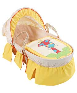 Moses basket with handles and detachable washable cover. Complete with mattress and brightly