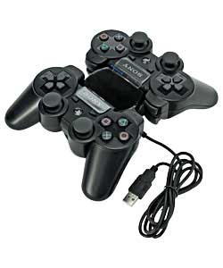 Dual charging docks with afterglow bays.  Charges 2 sixaxis controllers simultaniously via USB. Incl