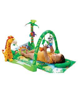 A deluxe soft gym with 3 ways to play. Baby can play with a butterfly mobile and a musical toy. For