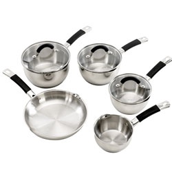 Comprises 16, 18 and 20cm saucepans, a 24cm frypan and 14cm milkpanSuitable for all hob typesDishwas