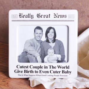 Unbranded Really Great News Cutest Couple and Baby Photo